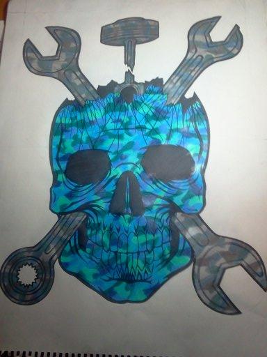 18x24--colored mechanic skull