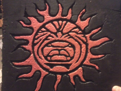 8x8 angry sun in wood