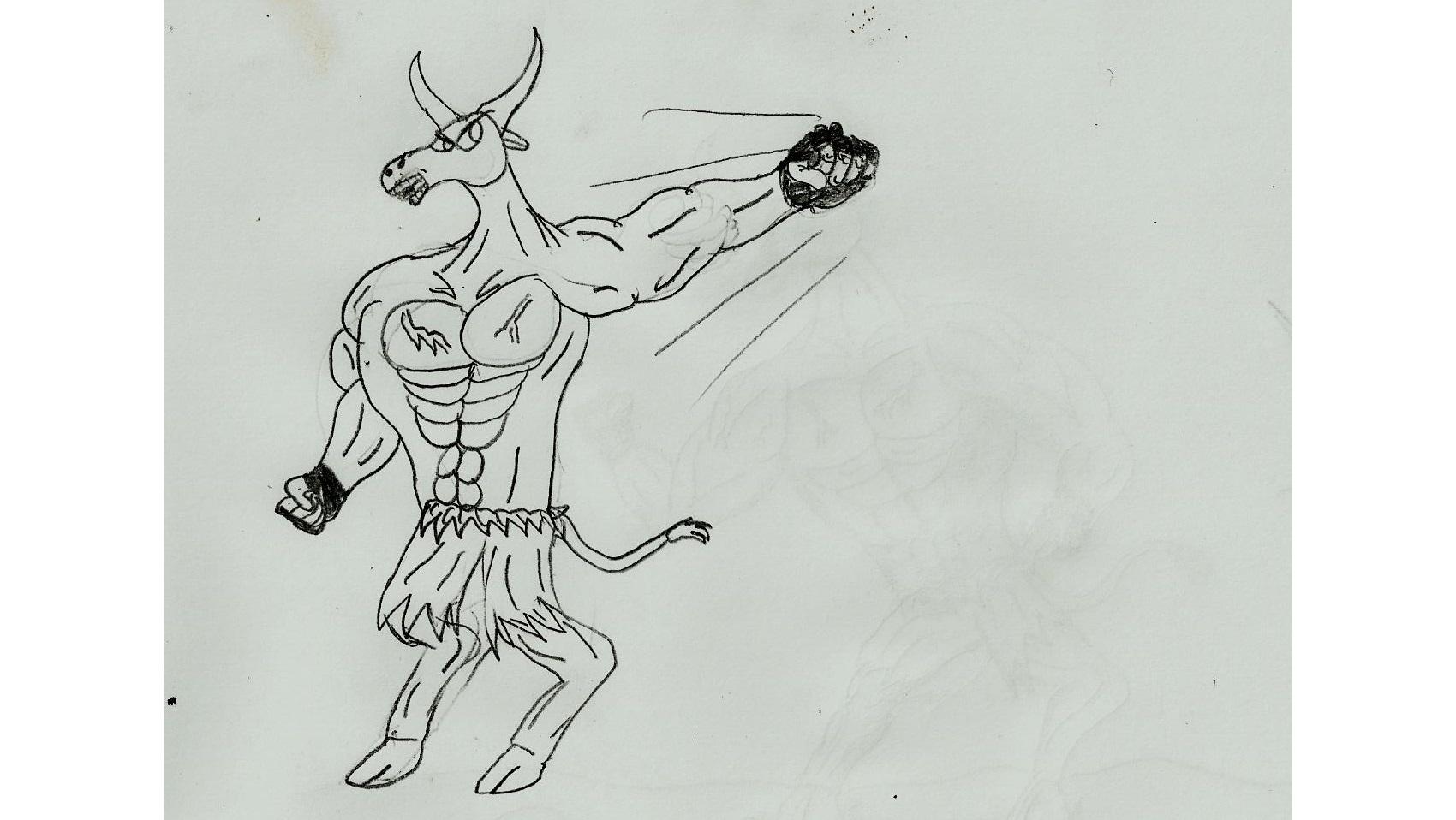Muscular Bull Rick Punch!