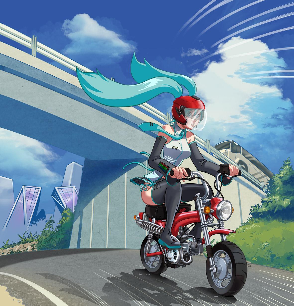 Miku riding