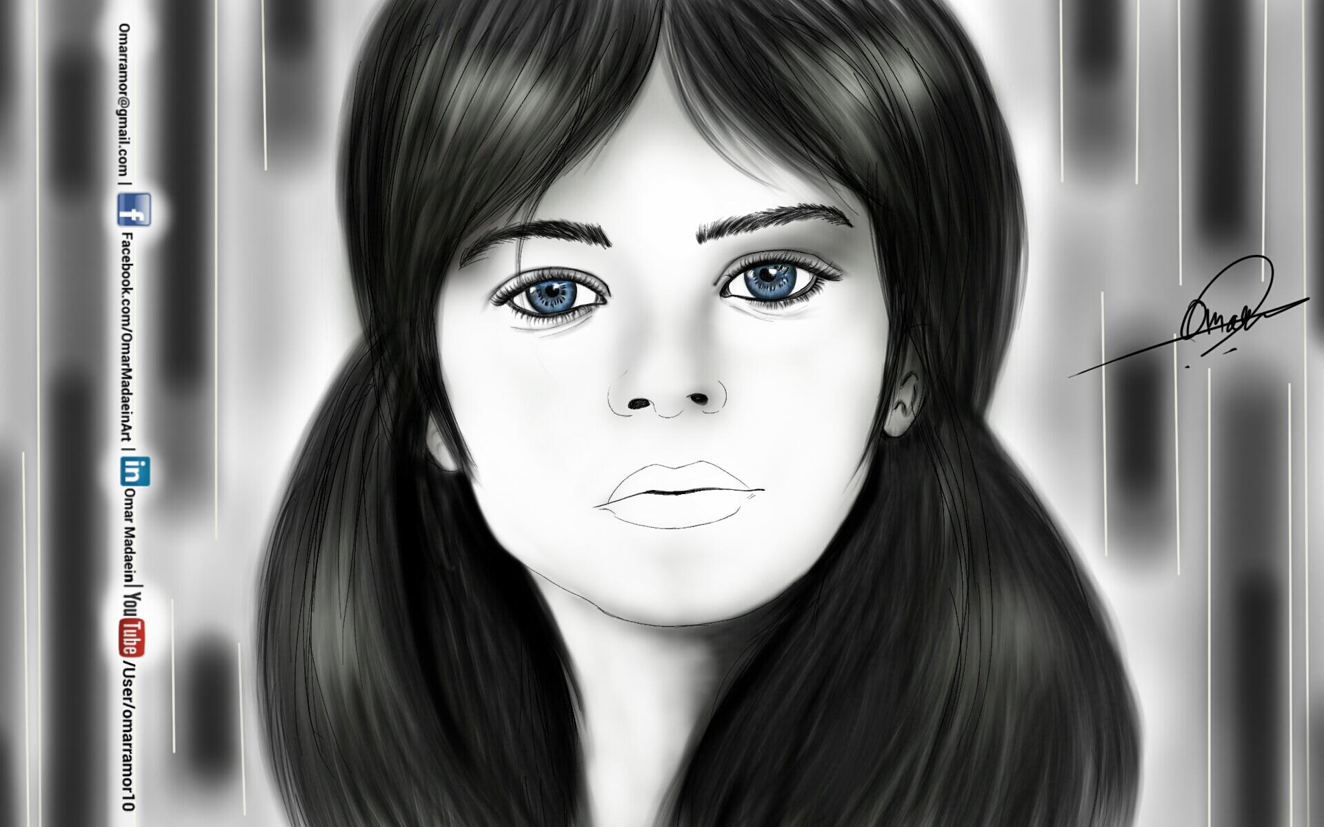Blue eyes - Drawing By Omar Ma