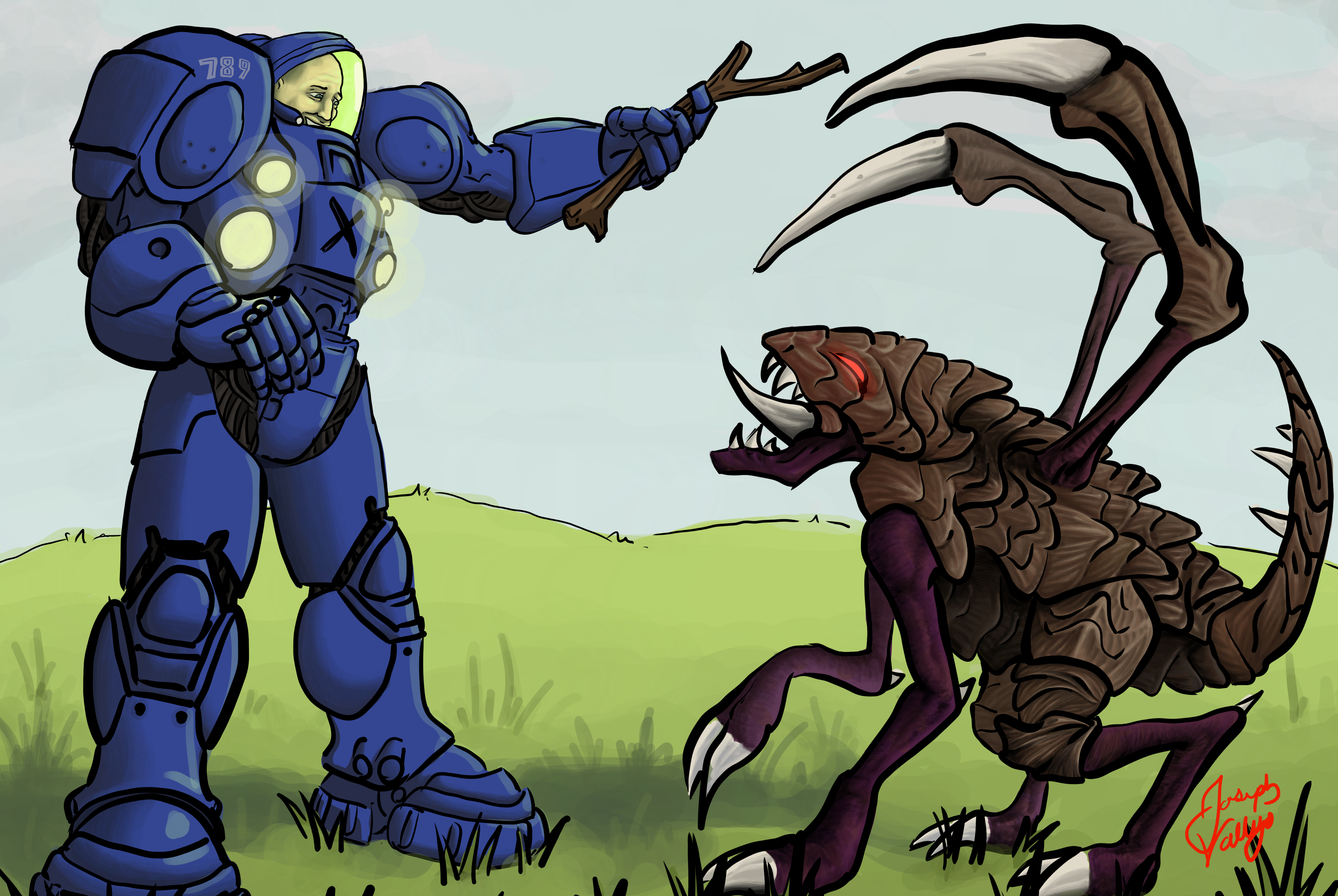 Terran Playing With Zergling