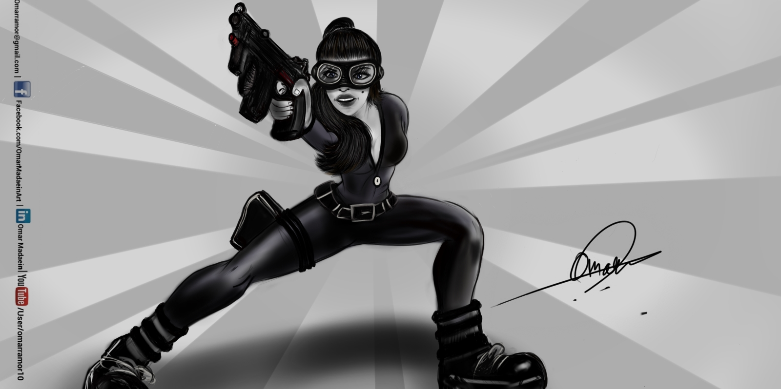 Action girl - Drawing By Omar