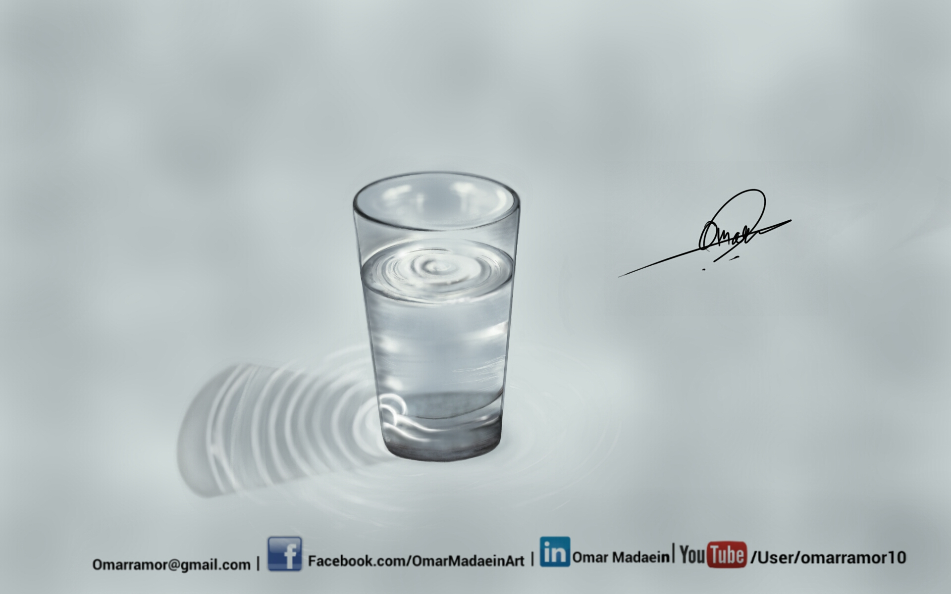 3D Realistic Glass of water