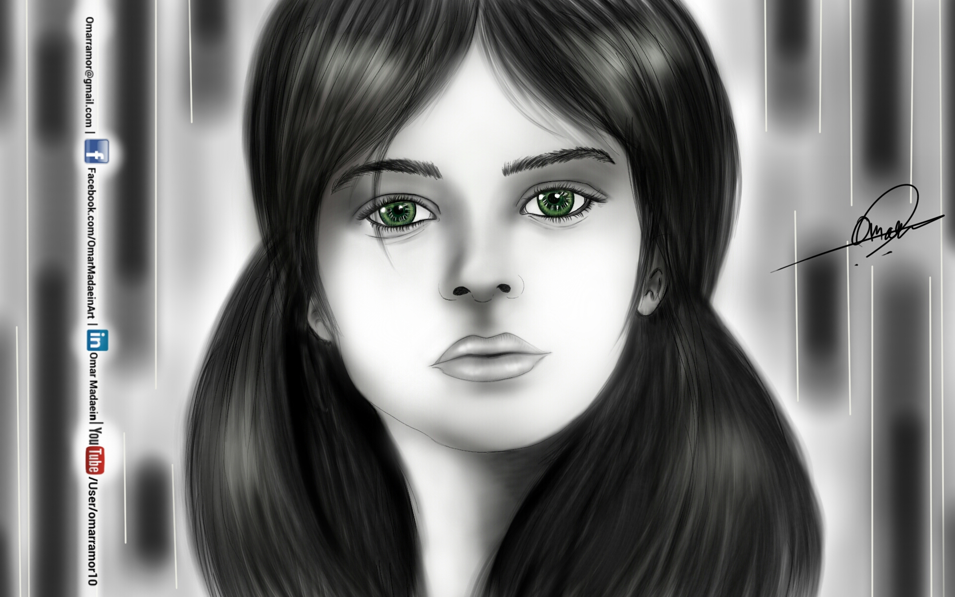 green eyes - Drawing by Omar