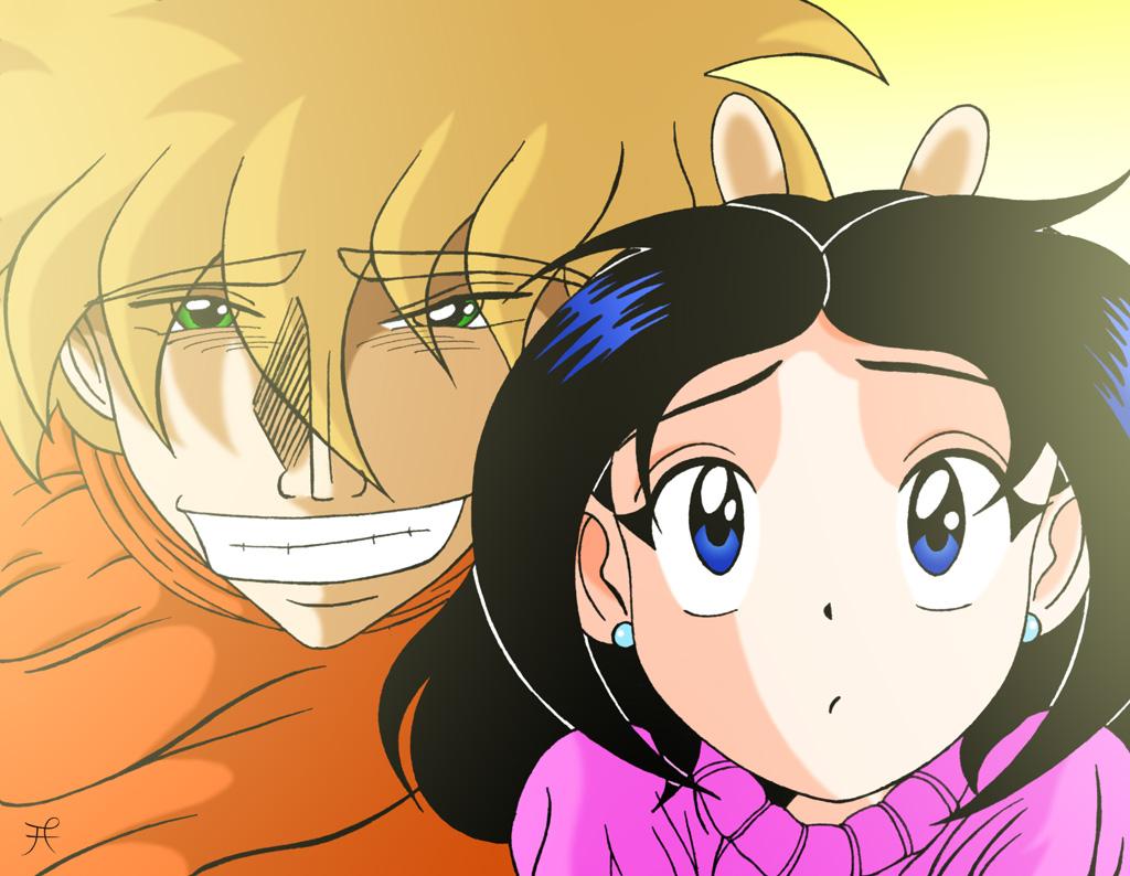 Hiroaki and Karen for a photo.