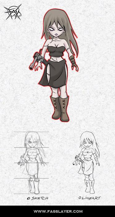 Zombie Machine gun girl sd