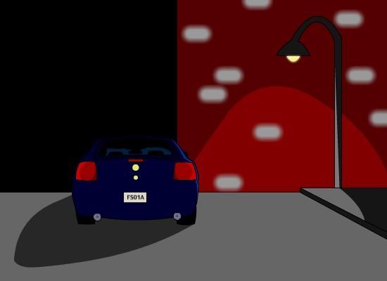 Parked car at night