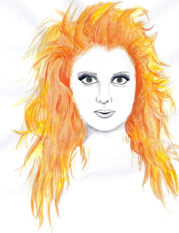 girl with crazy orange hair