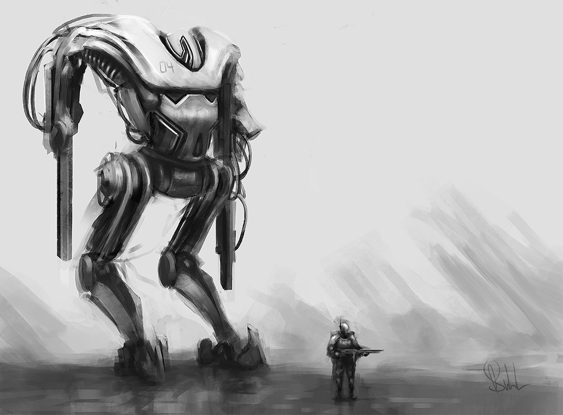 Mech And Soldier Sketch