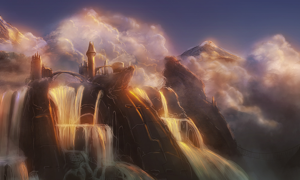 Tower over waterfalls