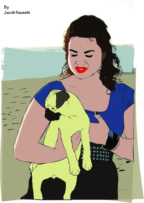 A girl and a pug