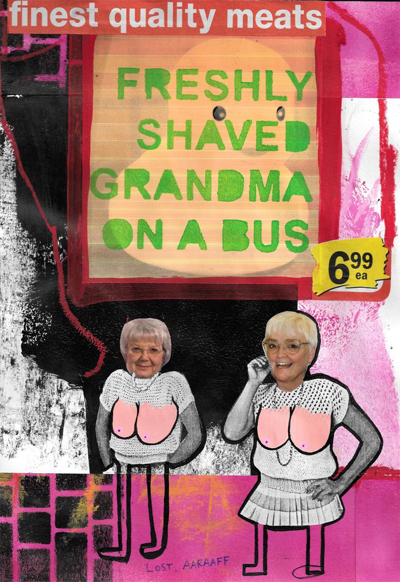 freshly shaved grandma on bus