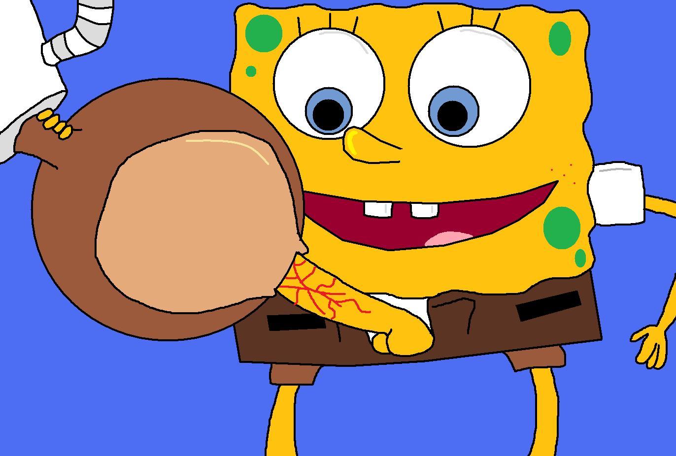 Sandy gets Spongy spongy