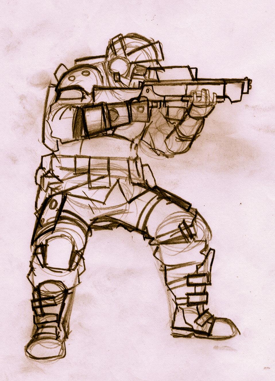 Soldier sketch pencil