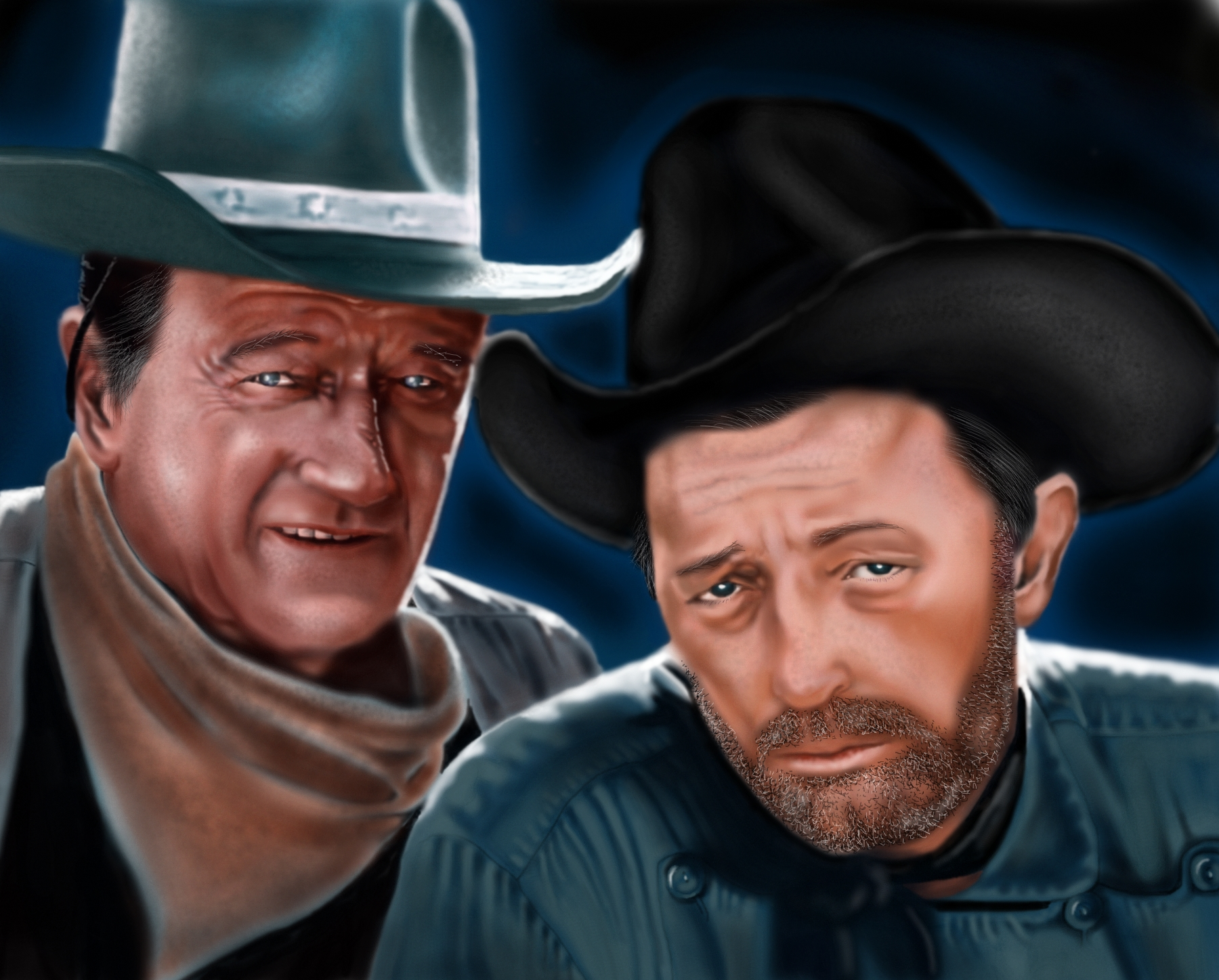 John Wayne and Robert Mitchum