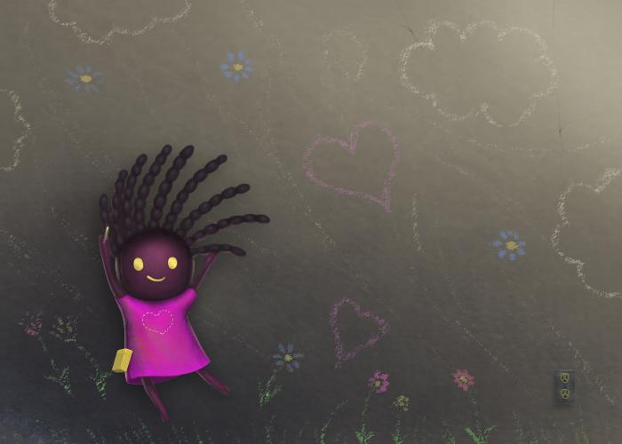Chalk-Drawing Girl