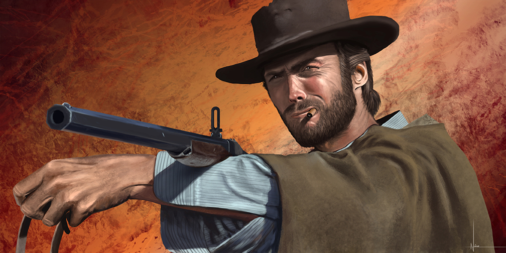 A painting of Clint Eastwood