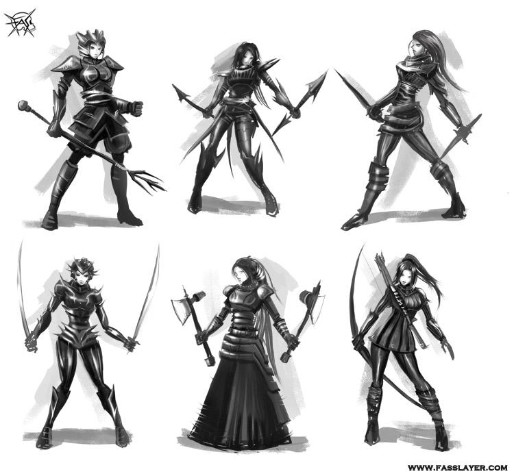 warrior girls silhouettes