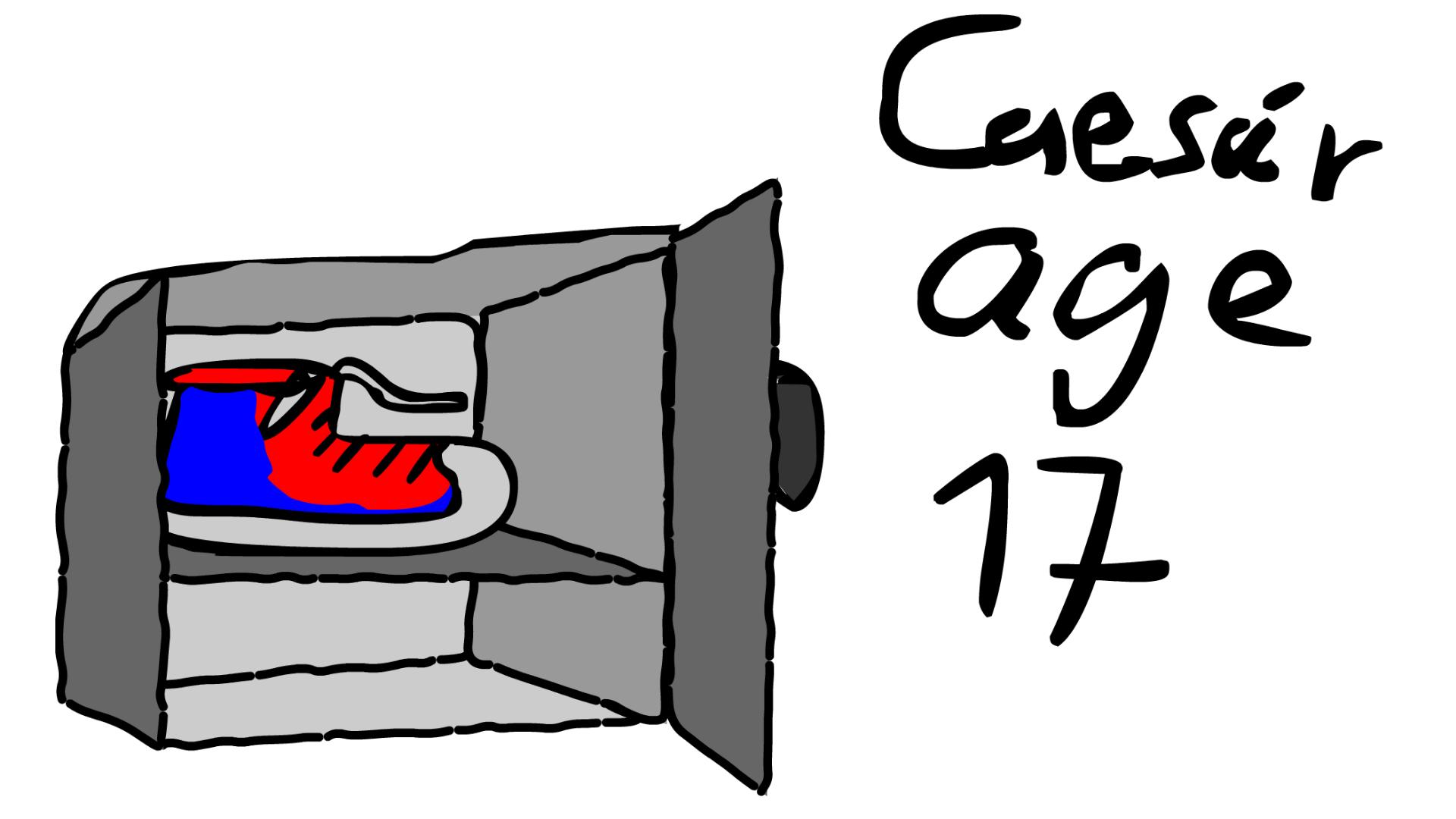 Shoe in a fridge.