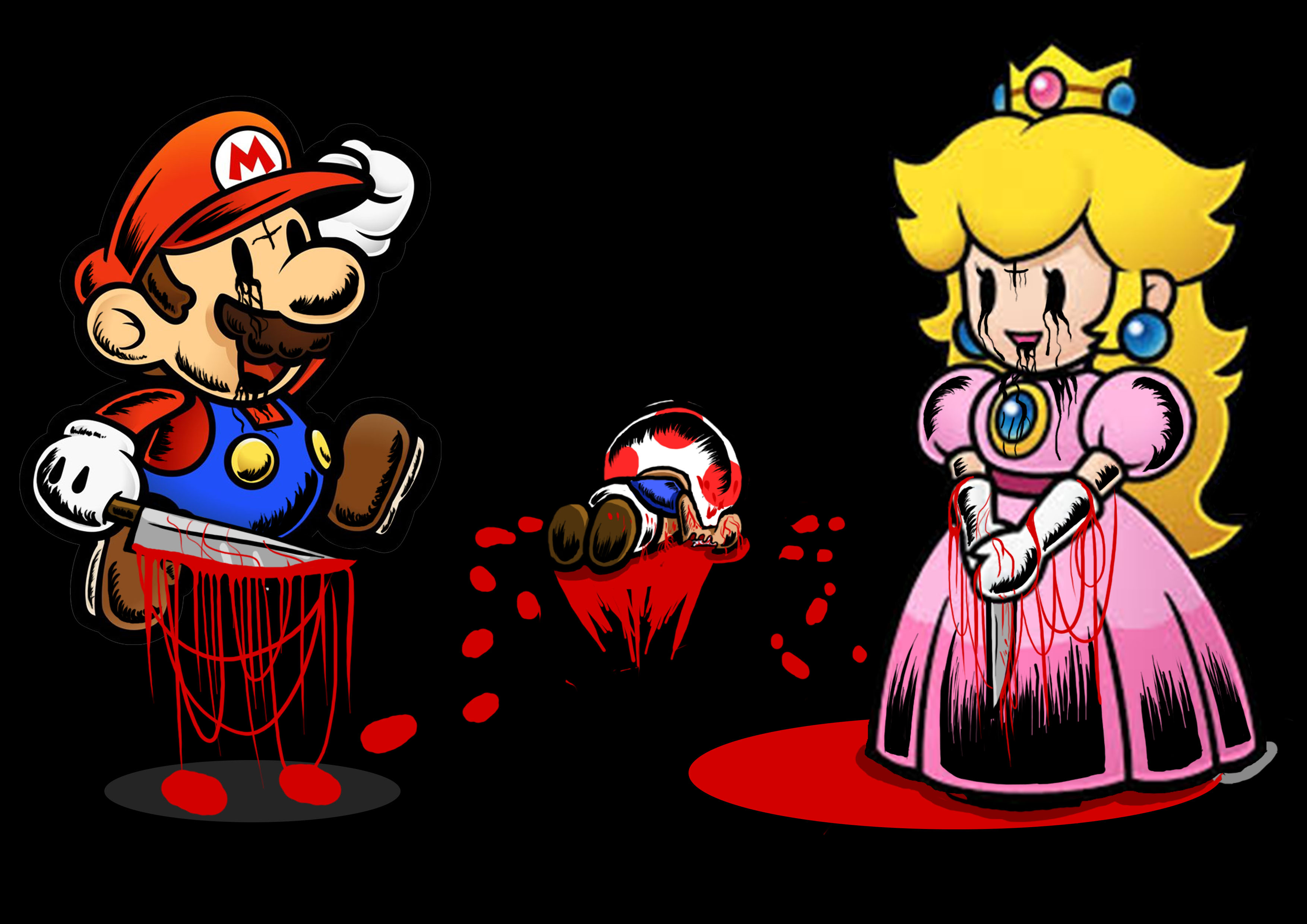 mario and peach... and toad