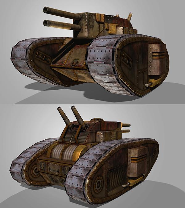 Double Barrel Steam Tank 3D