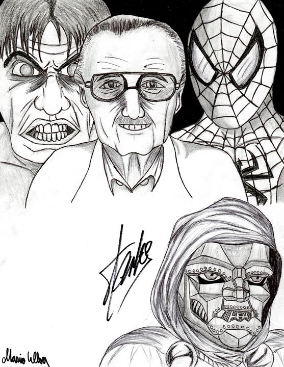 Stan Lee autographed drawing