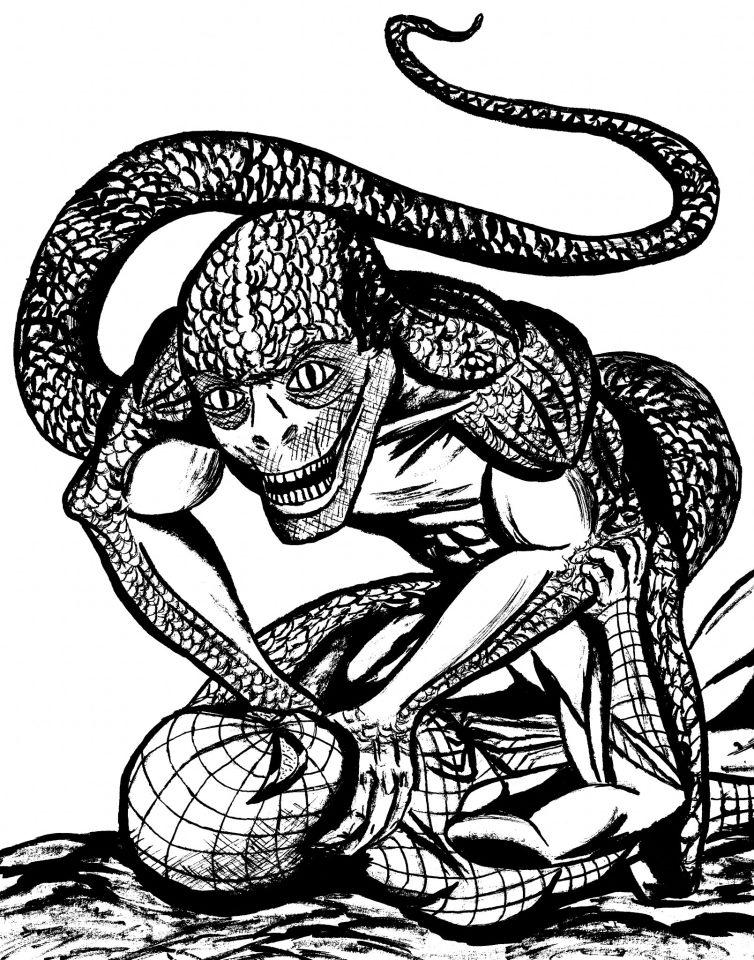 Movie Spider-man vs Lizard ink