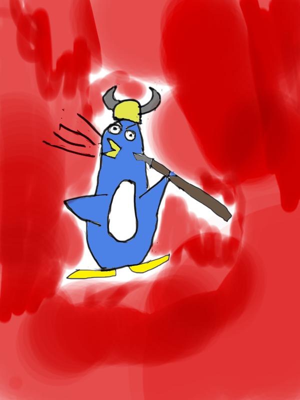 raging viking penguin