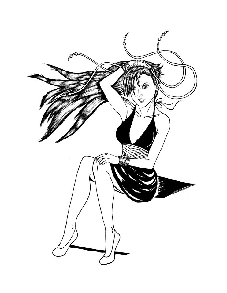 Chun Li dress outfit inked