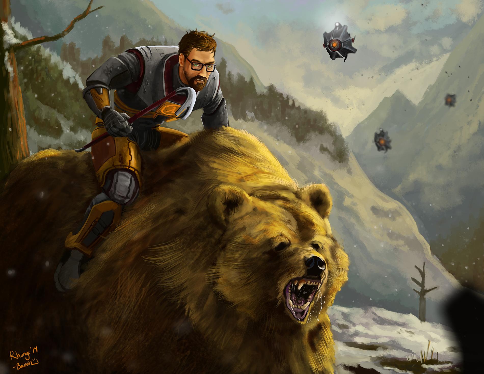 Gordon riding a bear
