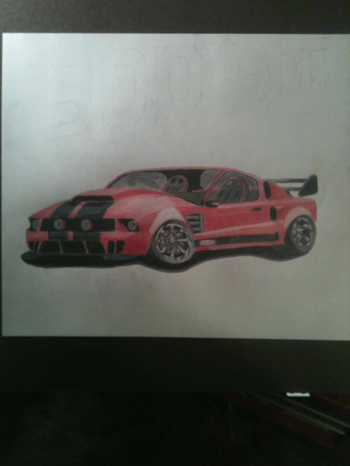 500 GT in colored pencils