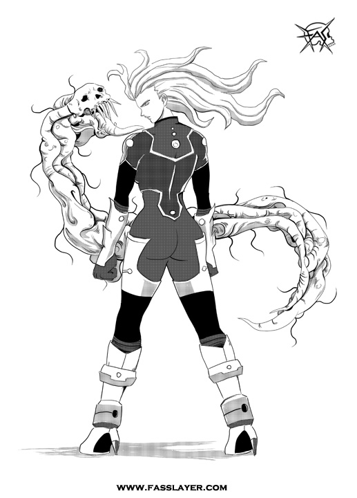 Woman and snake monster