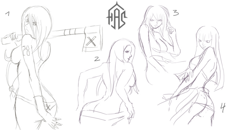 Sketches of girls