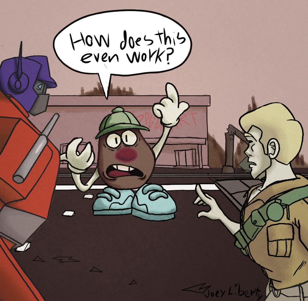 Mr.Potato head in trouble