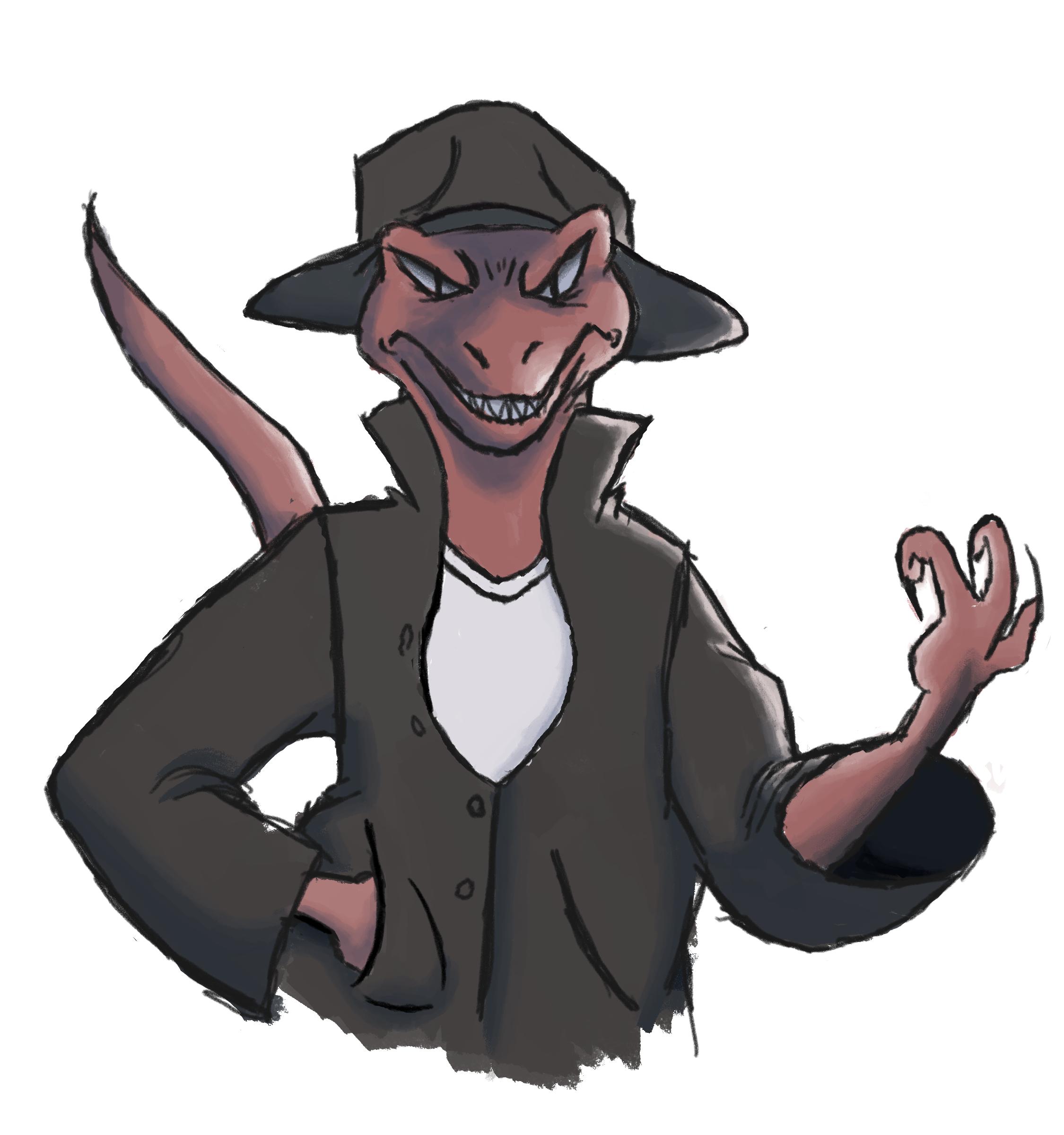 detective lizard man