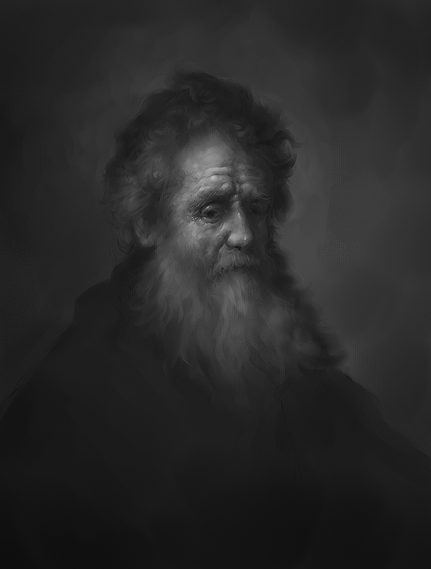 Rembrandt bearded oldman Study