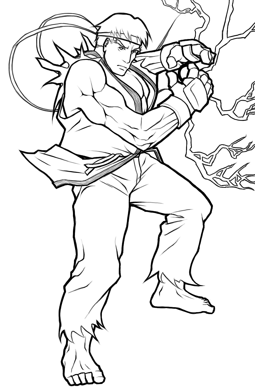 Ryu Lineart By Angelus Mortis On Newgrounds