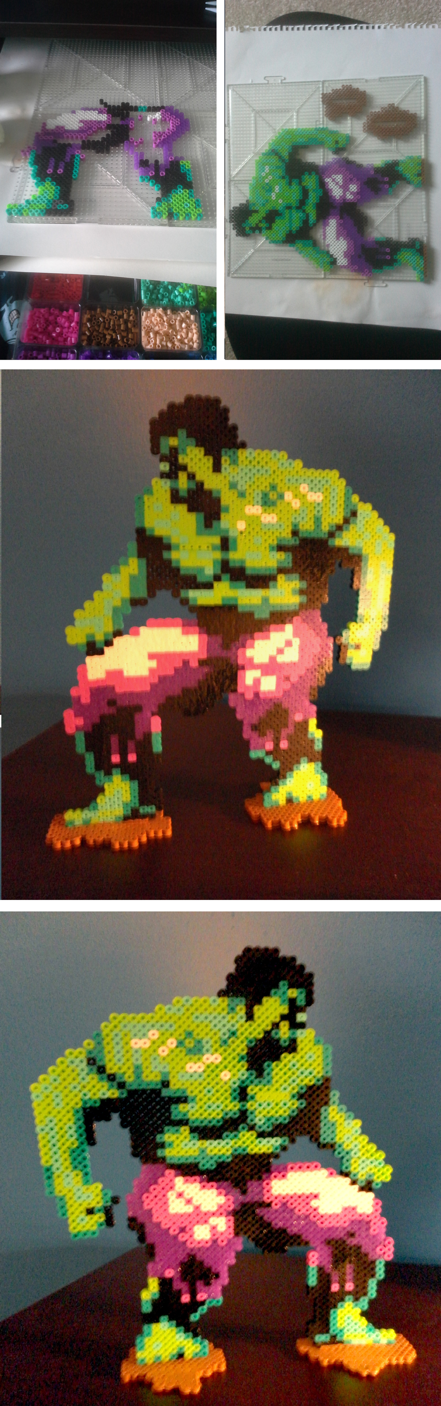 Pixel Hulk made out of Perler Beads