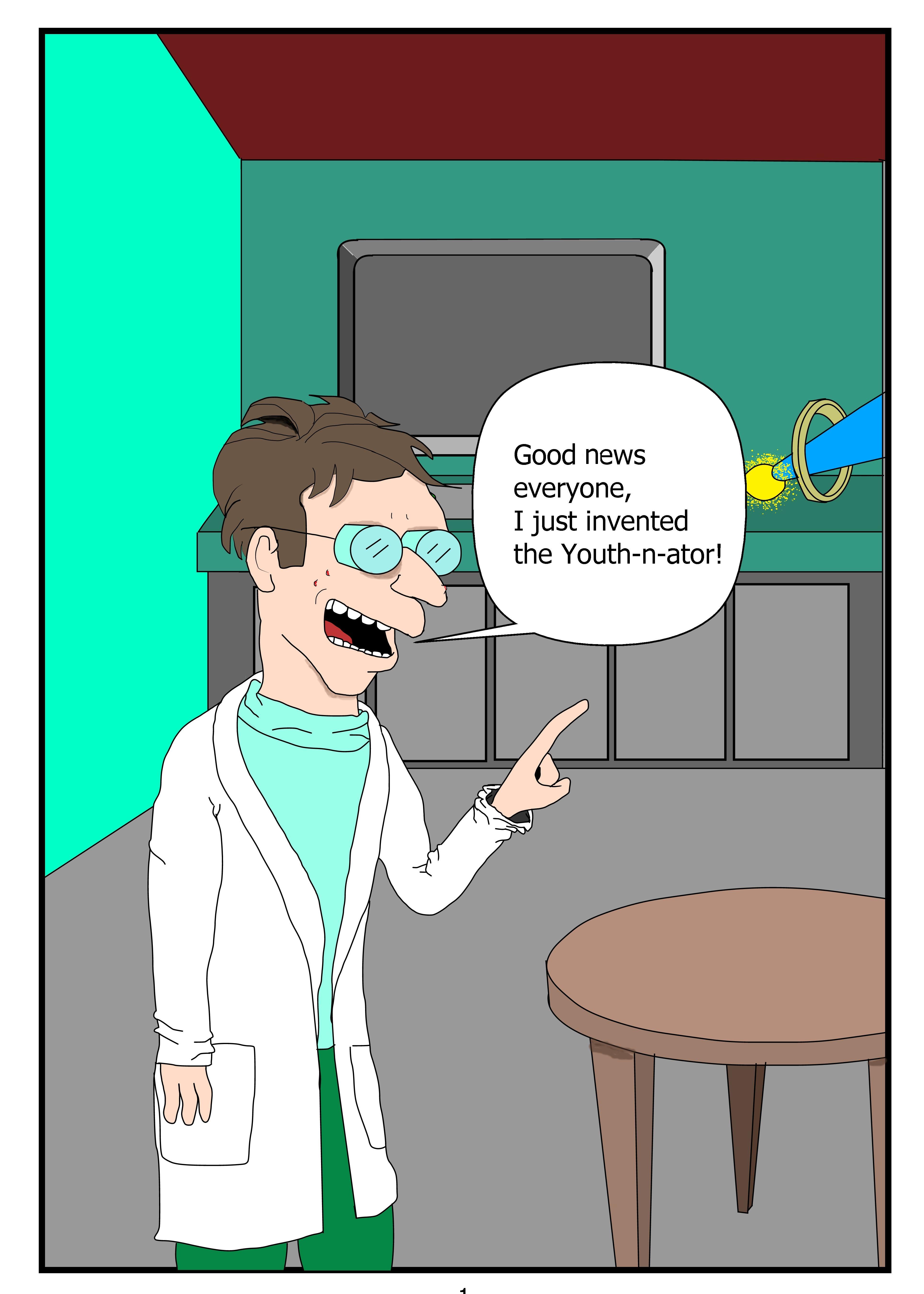 Professor Farnsworth invents a youth ray gun