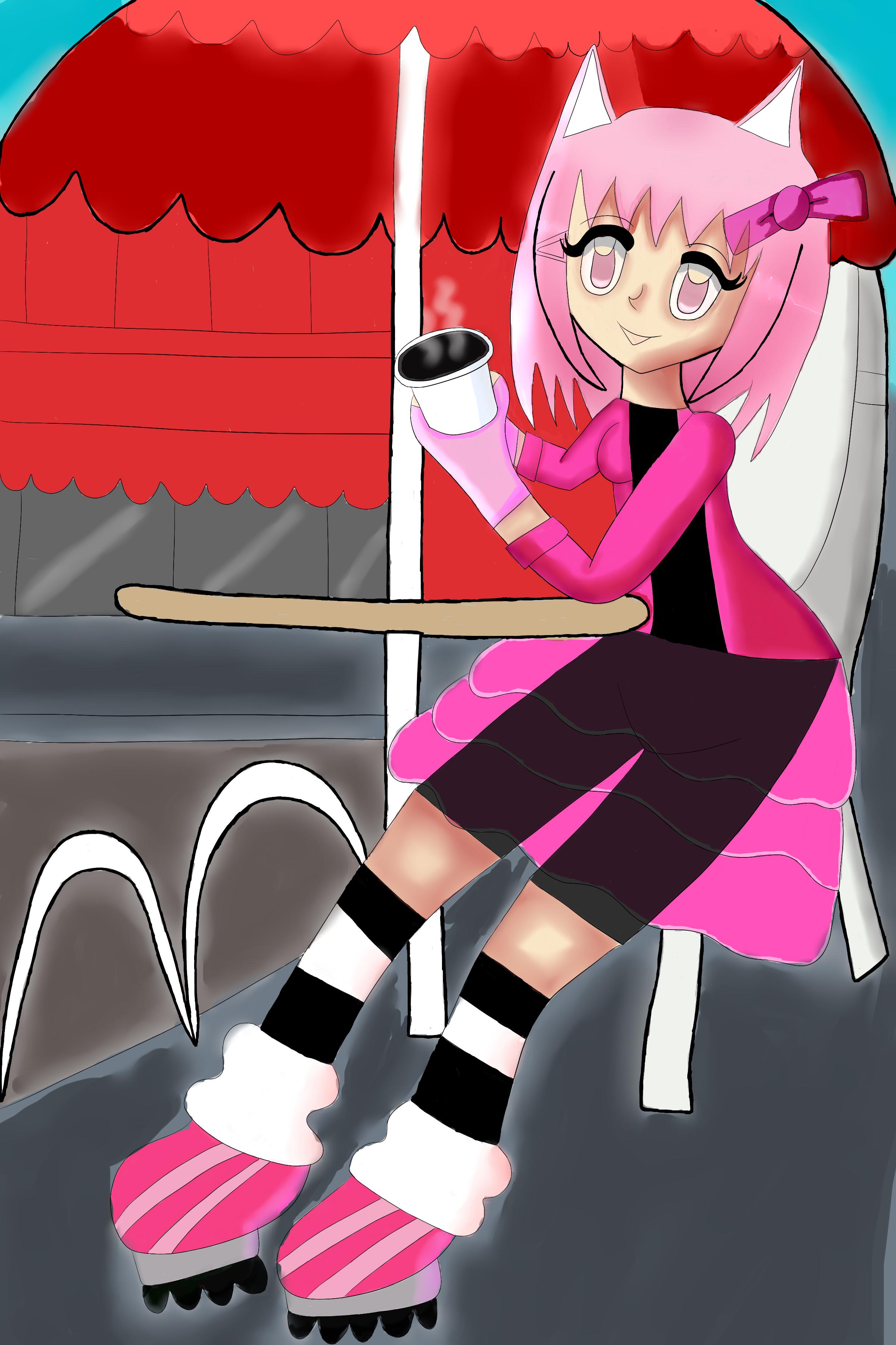 Neko sitting at a cafe