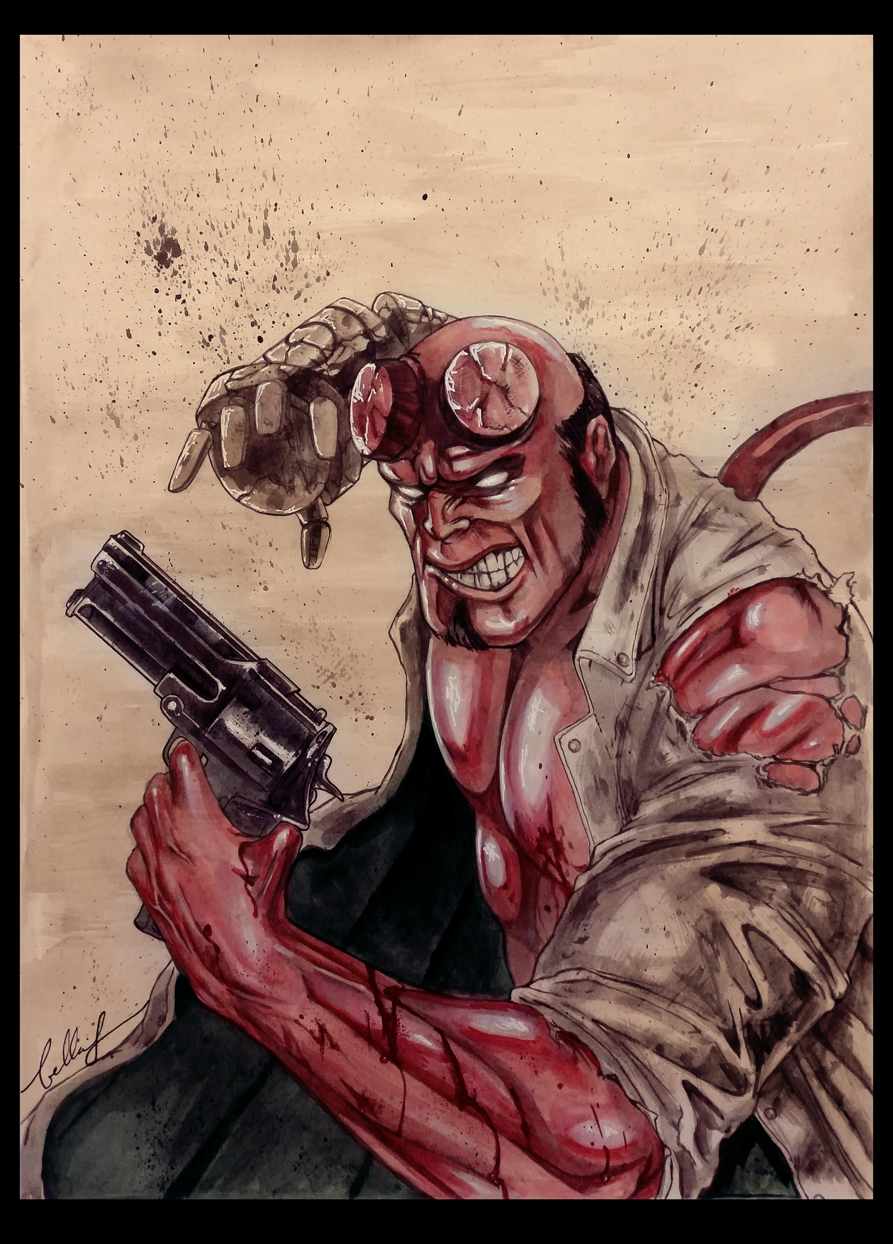 Watercolor Hellboy