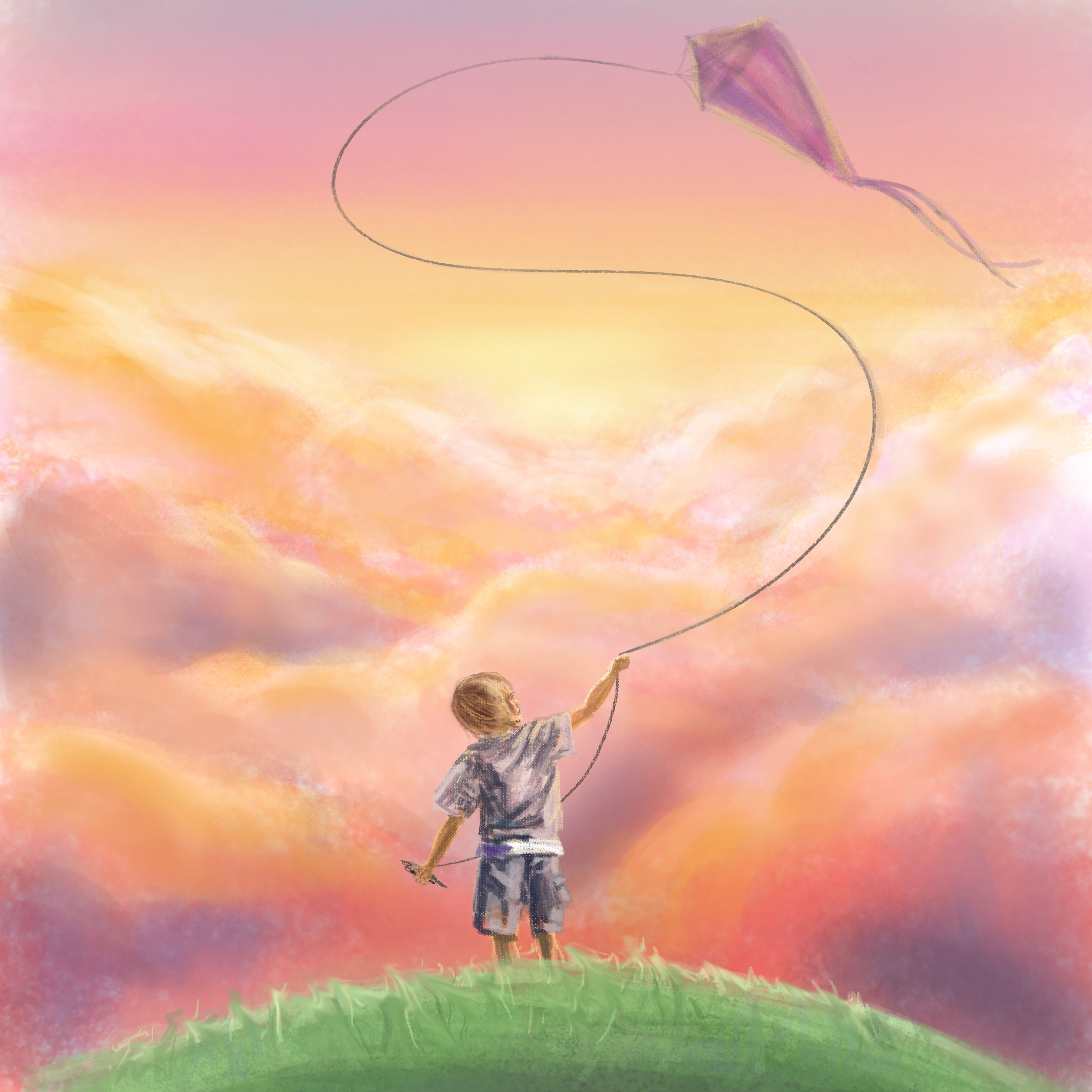 A boy with the wind