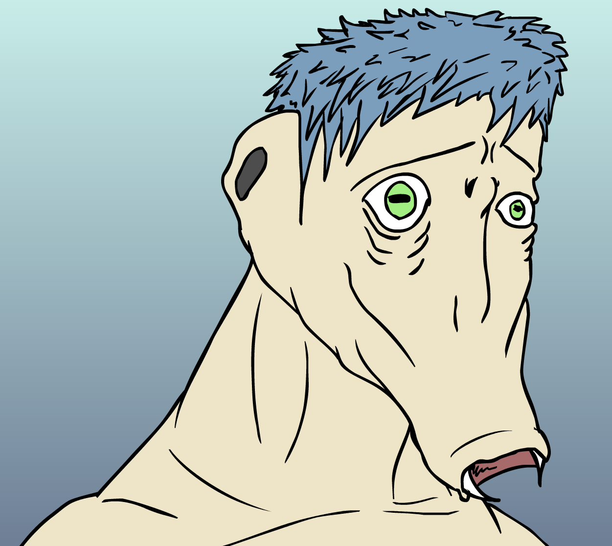 Some sort of blue haired dude