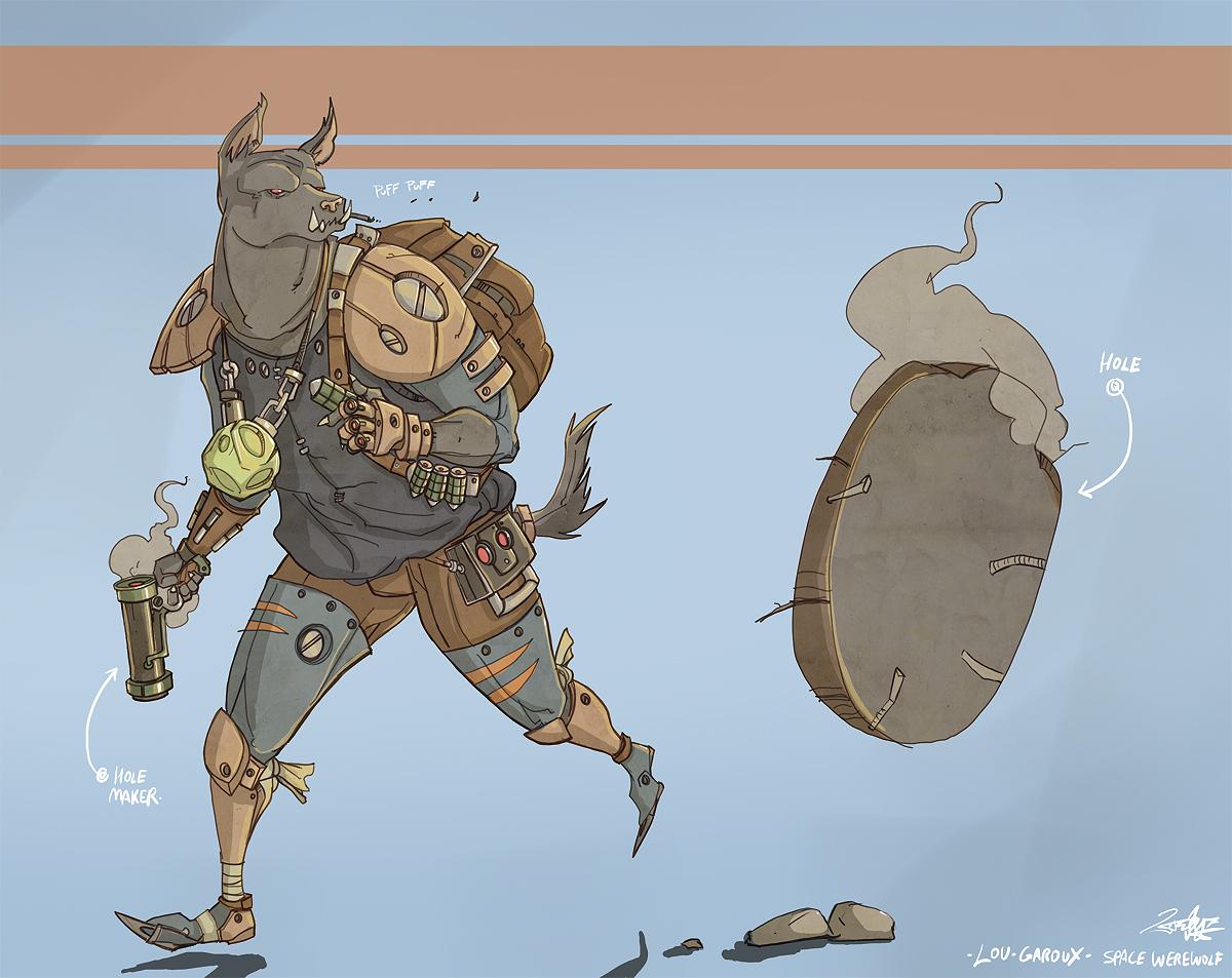 lou garoux! space werewolf!