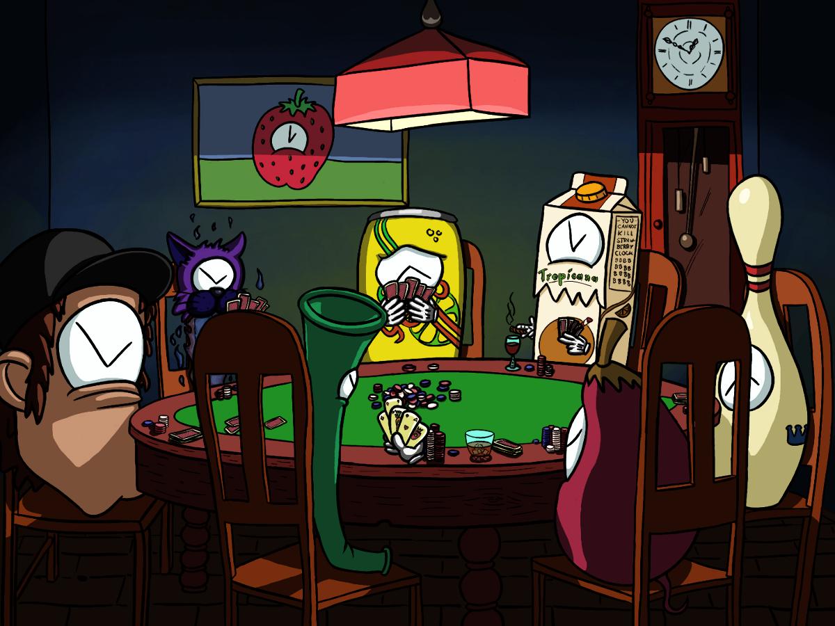 Clocks Playing Poker