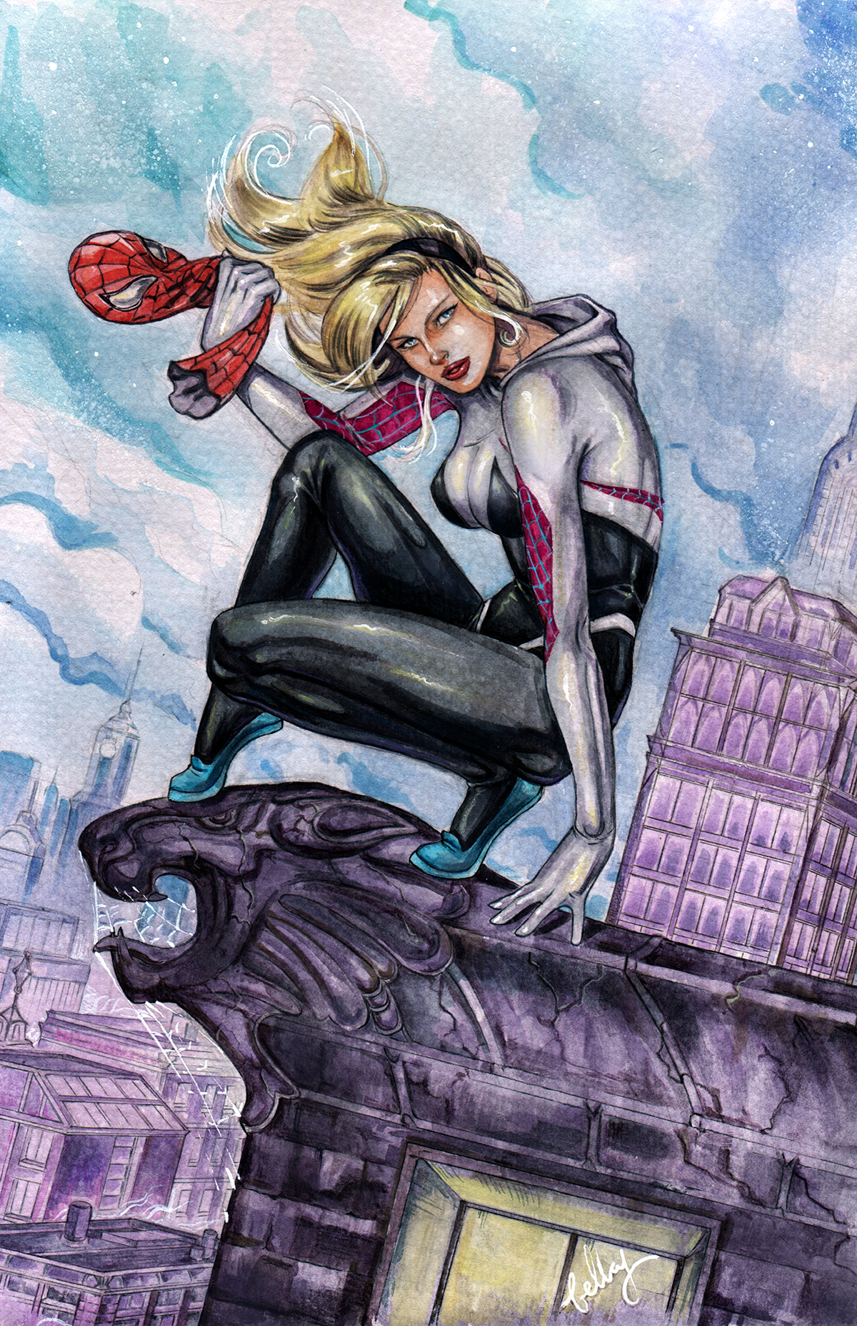 Watercolor Spider Gwen