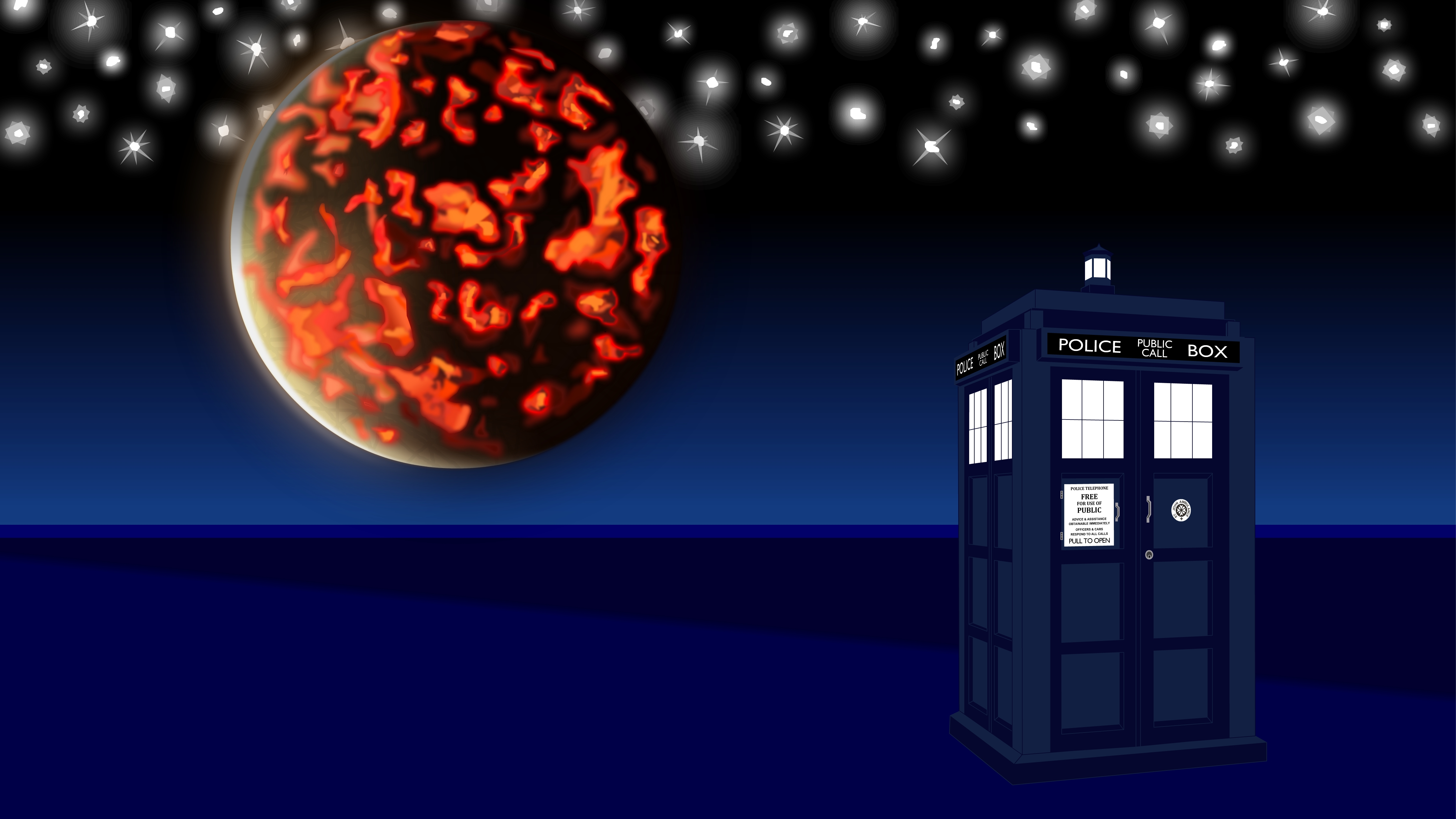 Tardis and Gallifrey vector background