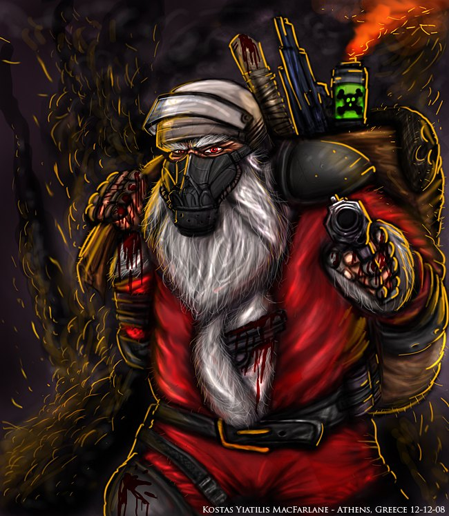Santa bearing guns!