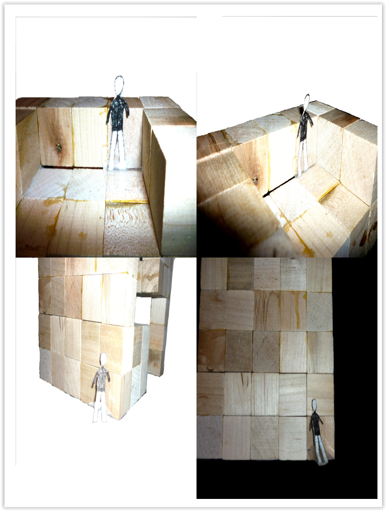 Wood Model with Scale Figures from different angles 2